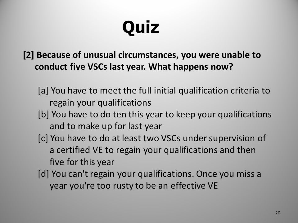 Quiz [2] Because of unusual circumstances, you were unable to conduct five VSCs last year. What happens now